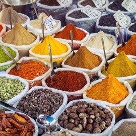 indian colorful spices at anjuna flea market in goa india